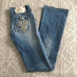 Miss Me EUC bootcut Jeans with fleur de lis detail